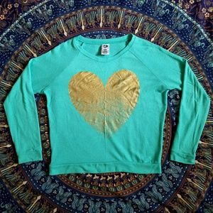 Sweaters - Gold Heart Print Sweater